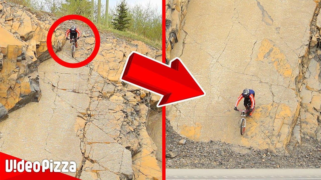 ほぼ壁!急斜面を自転車で降る衝撃映像【Video Pizza】