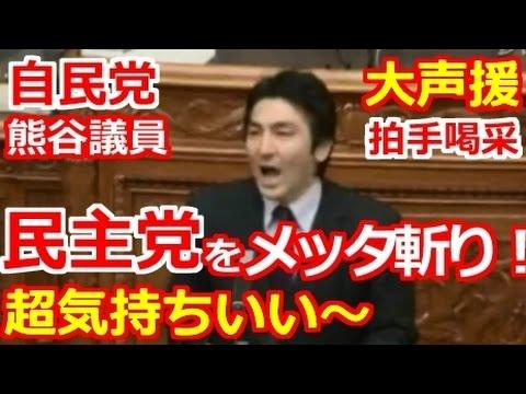 国会 自民党 熊谷議員が民主党をメッタ斬り!恥を知れ!大声援 拍手喝采!気持ちいい面白い国会中継