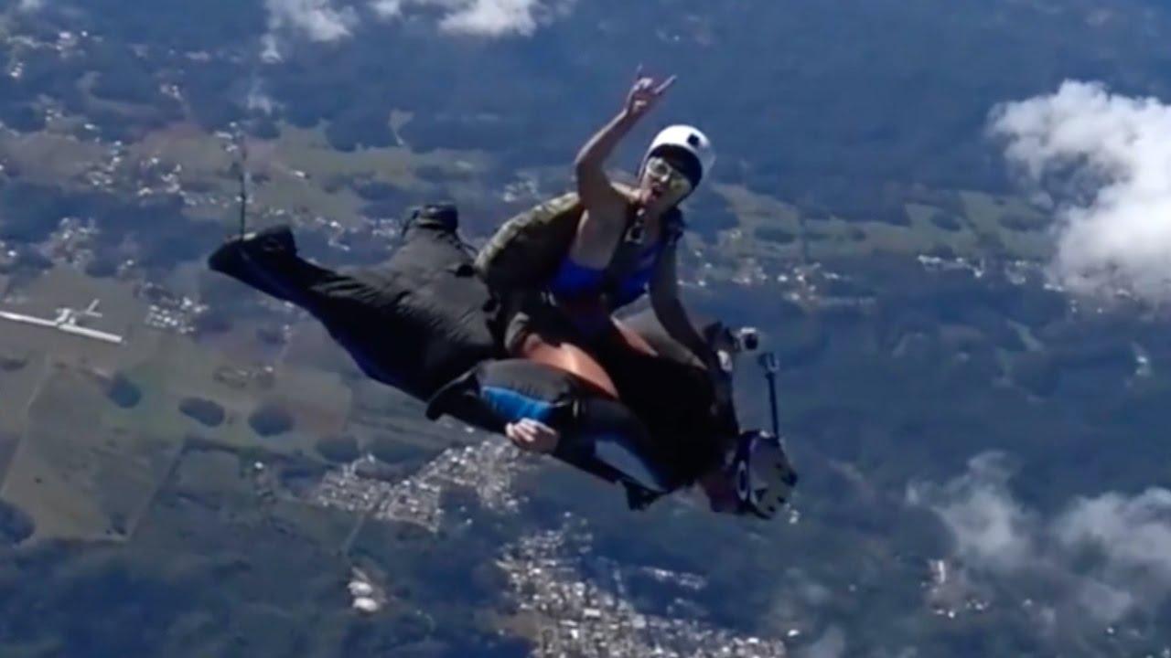 ムササビスーツでの空中飛行する光景がすごい スカイダイビング[衝撃]