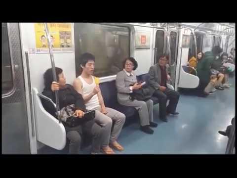 キチガイ韓国人   公共の場でいきなり発狂集