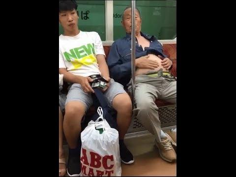 電車の中でキチガイ老人が腹太鼓を披露