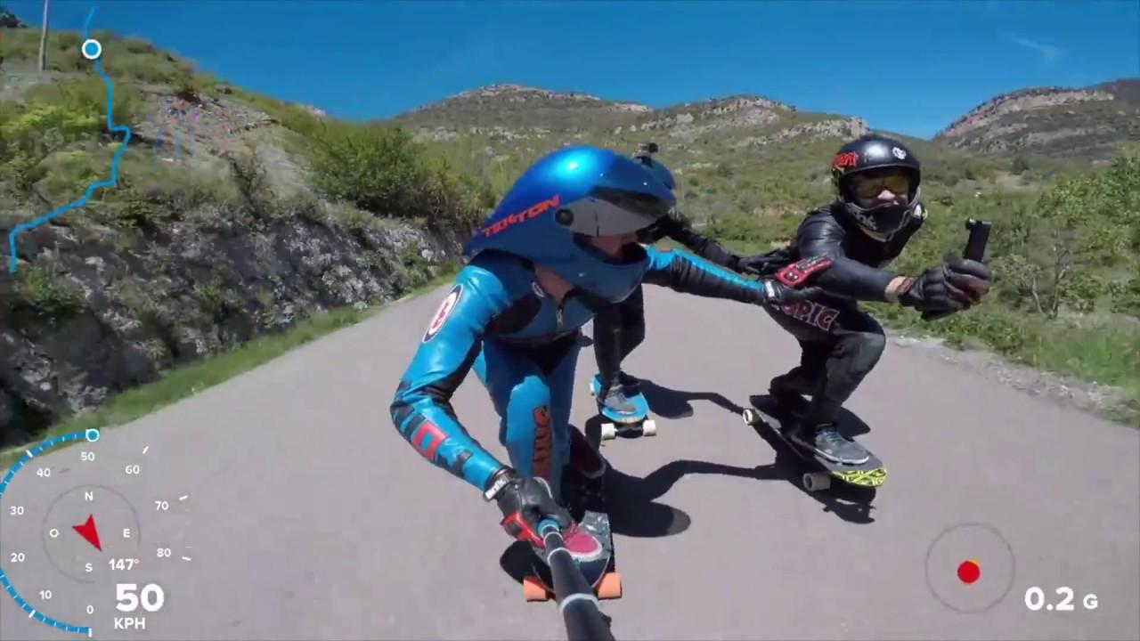 【スケボー】GoPro視点で60km超えのダウンヒル!高速スケートボード映像集【Video Pizza】