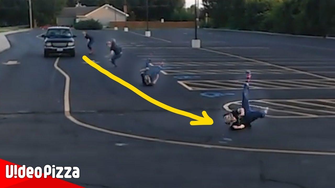【危険ダウンヒル】スピード出し過ぎで大事故。世界のハプニング動画【Video Pizza】