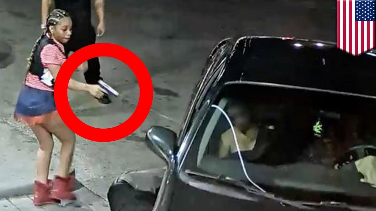 ガソリンスタンドの監視カメラが捉えた 下着の中から銃を取り出し発砲した女