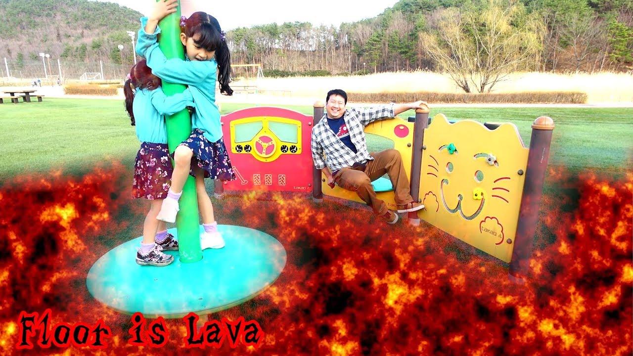 お出掛けの公園に溶岩が押し寄せる~><Floor is Lavaやってみた☆ himawari-CH