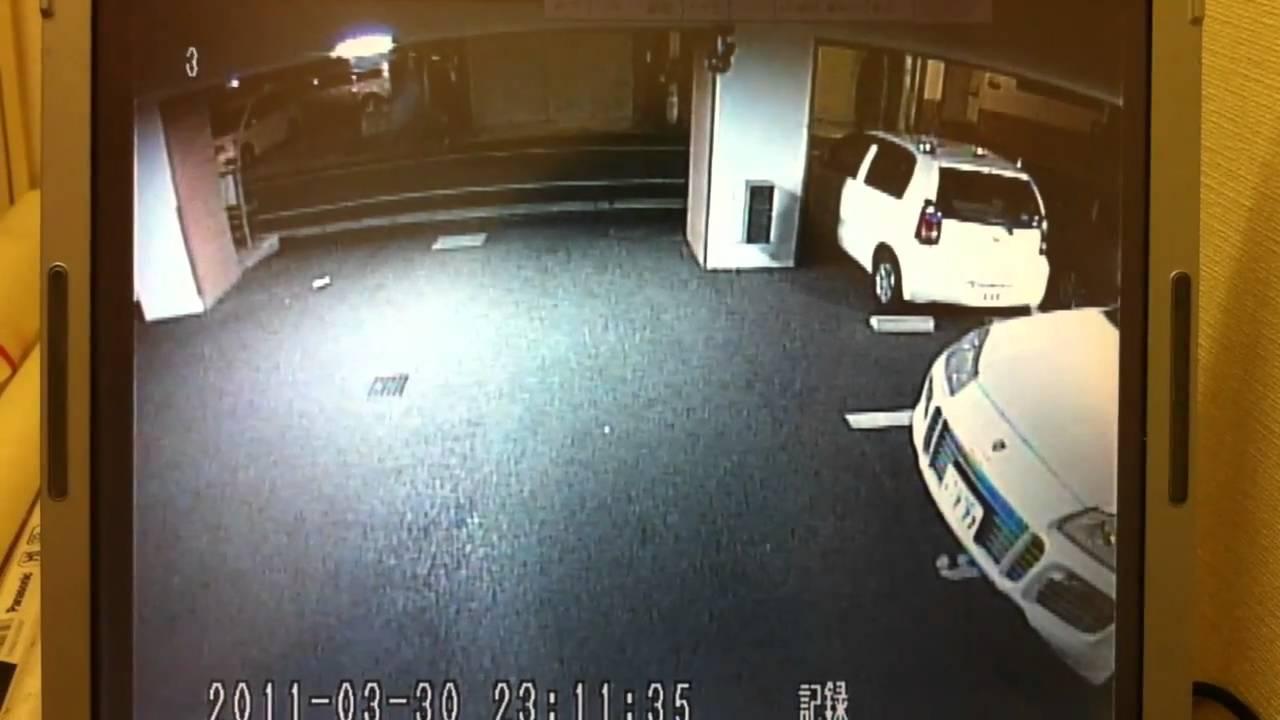 防犯カメラ映像 車両にイタズラ