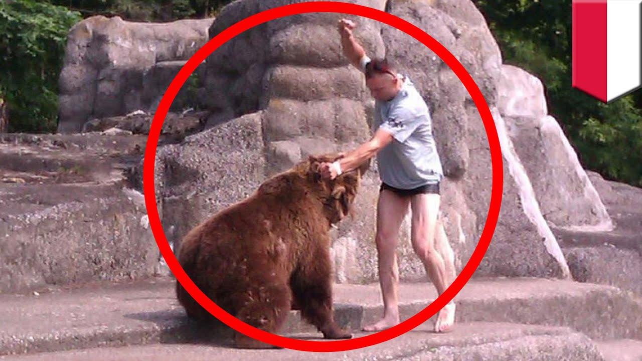 体重200kgもあるクマの頭を素手で殴った裸足男